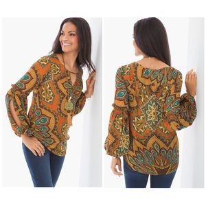 Chico's Size 1 Tribal Print Peasant Blouse Medium